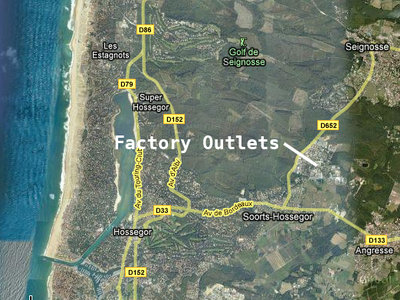 Google Maps | Factory Outlets in Soorts - Hossegor | Loacation overview | D652
