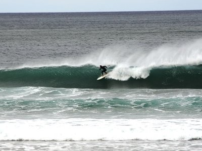 surfing nice right at the playa de oyambre in spain