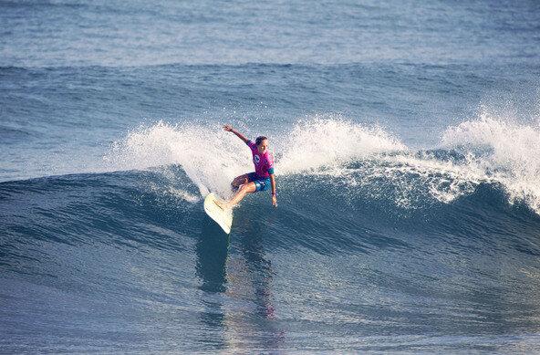 (c) Aquashot |  Steinriede Claims Roxy Pro Longboard in Biarritz