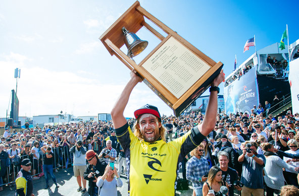 Image: WSL / Sloane | Matt Wilkinson (AUS) claims his first victory at the Rip Curl Pro Bells Beach