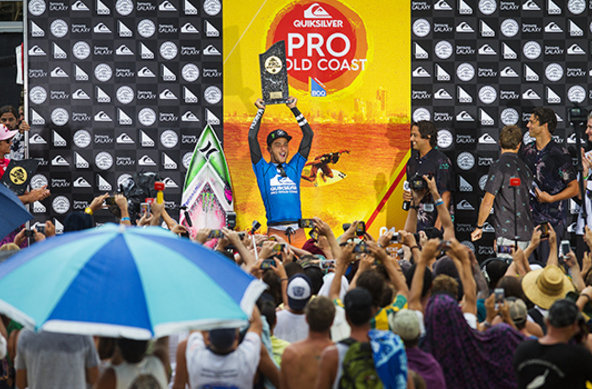 Image: WSL / Kelly Cestari | Young Brazilian Filipe Toledo celebrates winning the Quiksilver Pro Gold Coast.