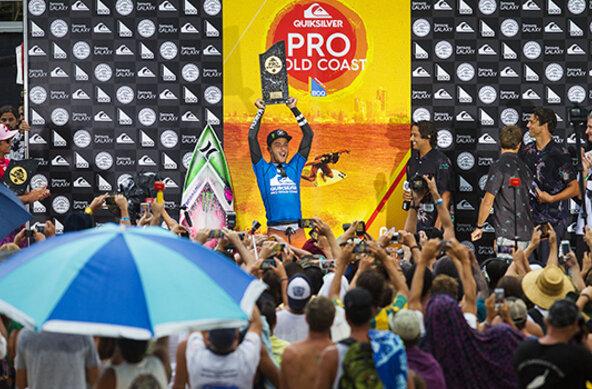 Image: WSL / Kelly Cestari   Young Brazilian Filipe Toledo celebrates winning the Quiksilver Pro Gold Coast.