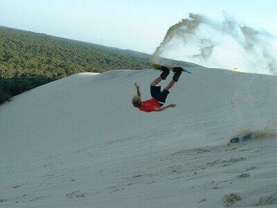 Snowboarden auf der Düne du Pylat