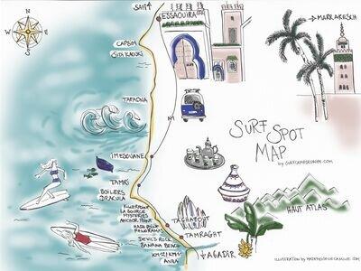 Surf Spot Map Morocco - Agadir | Anza | Tamraght | Taghazout | Imsouane | Essaouira